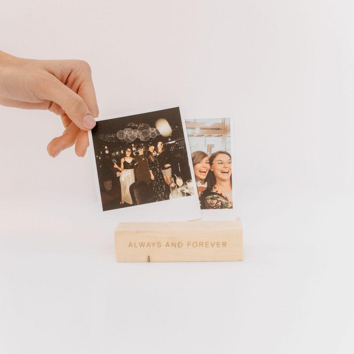 Soporte fotos de madera con texto personalizado