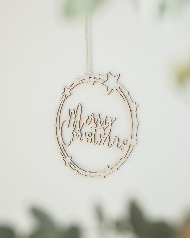 Corona de Navidad con mensaje Merry Christmas