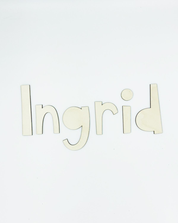 Palabra personalizada letras geométricas